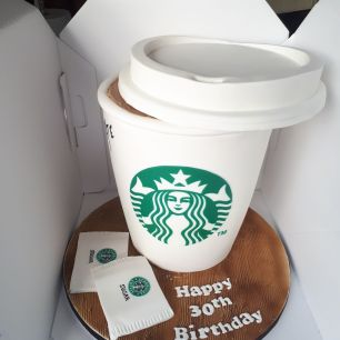 Giant Starbucks cup birthday cake