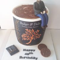 Novelty giant coffee cup birthday cake
